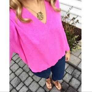 J. Crew V-Neck Boyfriend Cashmere Sweater Pink L